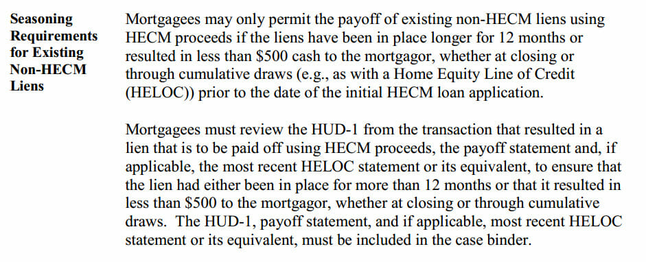 seasoning excerpt from Mortgagee Letter 2014-21