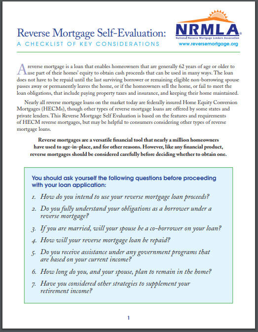 reverse mortgage checklist