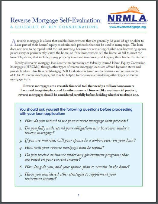 reverse mortgage checklist