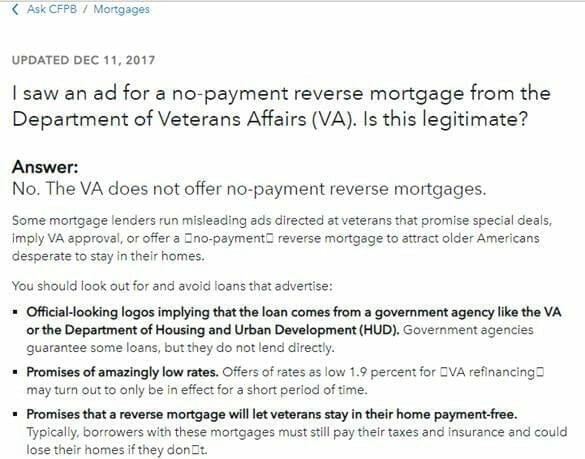 reverse mortgage advertisement for veterans