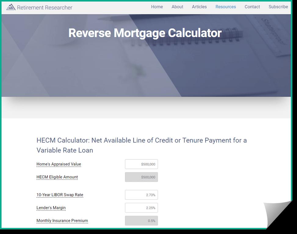Screenshot of Retirement Researcher Calculator