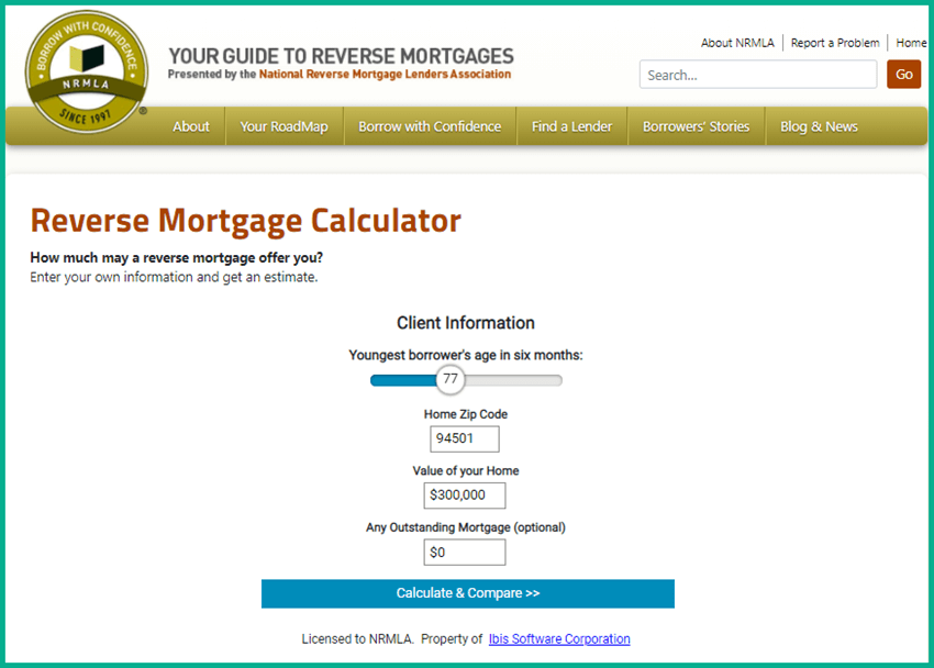 Screenshot of National Reverse Mortgage Lenders Association Free Calculator