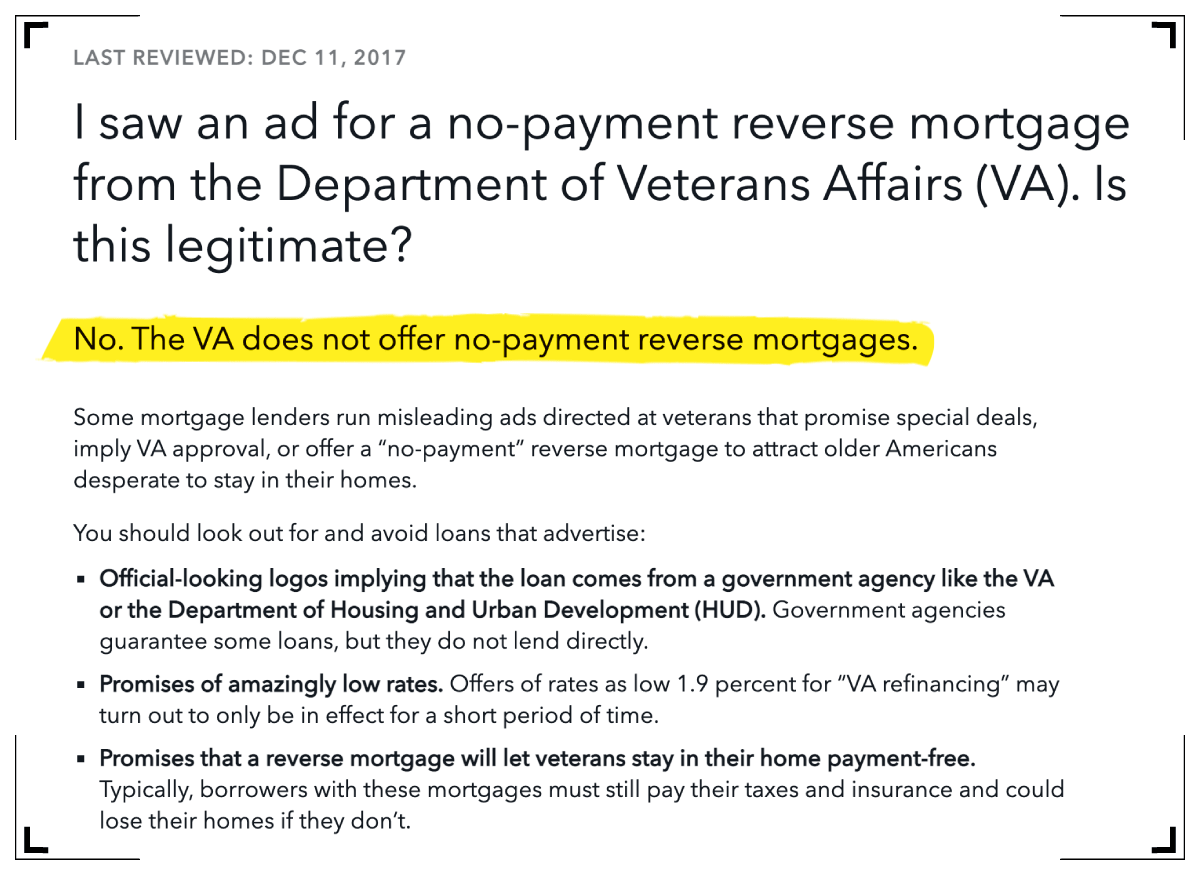 reverse mortgage advertisement for veterans